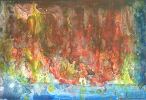 Predevečrnji plam iznad rijeke